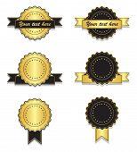 Golden And Black Vintage Badges With Ribbon