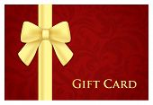 Red Gift Card With Victorian Pattern And Golden Ribbon