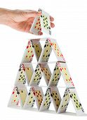 Completing A House Of Cards isolated on white