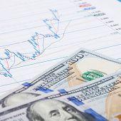 Stock Market Graph With 100 Dollars Banknote - Studio Shot