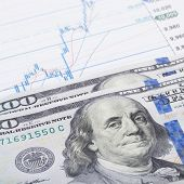 Stock Market Graph With 100 Dollars Banknote