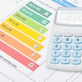 Calculator With Energy Efficiency Chart - Studio Shot