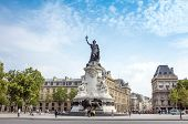 PARIS, FRANCE-July 27: Place de la Republique.built in 1880. It symbolizes the victory of the Republic in France.The Famous Statue of the Republic in Paris on July 27, 2014 in PARIS, FRANCE