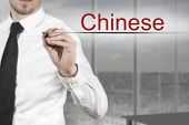 Businessman Writing Chinese In The Air Language