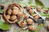 Walnuts, Nutcracker And Basket On Old Wooden Table