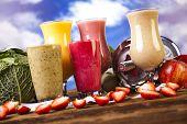 Healthy diet, protein shakes, sport