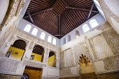 CORDOBA, SPAIN - OCTOBER 9, 2014: The Cordoba Synagogue interior. The synagogue dates from 1315 and was declared a National Monument in 1885.