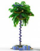 Isolate New Year palm tree with decoration concept holiday element