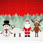 Santa Claus, reindeer, snowman and sheep
