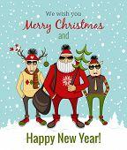 hipster Santa and company