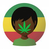 image of rastaman  - Illustration of an isolated avatar with a marijuana leaf - JPG