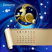 Simple monthly page of 2015 Calendar with gold zodiacal sign against the blue star space background. Design of January month page with Capricorn figure. Vector illustration