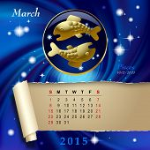 Simple monthly page of 2015 Calendar with gold zodiacal sign against the blue star space background. Design of March month page with Pisces figure. Vector illustration