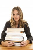 School Girl Hold Stack Of Books Serious