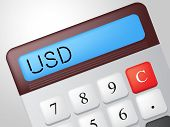 Usd Calculator Represents American Dollars And Accounting