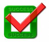 Success Tick Indicates Triumph Prevail And Victors
