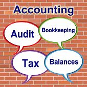Accounting Words Represents Balancing The Books And Bookkeeping