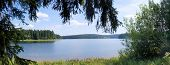 stock photo of dam  - The Saidenbach Dam is the largest reservoir in the Middle Erzgebirge in Germany - JPG