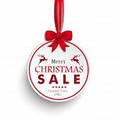 White Paper Bauble Red Ribbon White Background