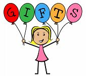 Gifts Balloons Means Young Woman And Kids