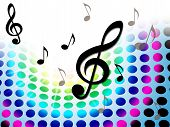 Music Background Shows Treble Clef And Composer