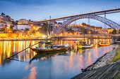 Porto, Portugal cityscape on the Douro River.