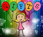 Gifts Balloons Indicates Young Woman And Kids