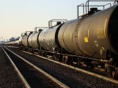 image of railroad car  - A row of railroad tank cars at early morning sunrise - JPG