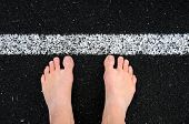Bare feet at start line