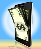 Phone Dollars Shows World Wide Web And Banking