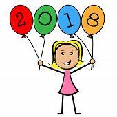 Twenty Eighteen Balloons Represents New Year And Kids