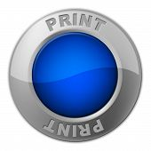 Print Button Represents Reprint Placard And Printer
