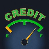 Credit Gauge Represents Debit Card And Bankcard