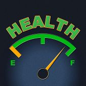 Health Gauge Indicates Preventive Medicine And Care