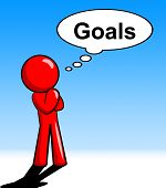 Thinking Goals Character Shows Aspiration Targets And Mission