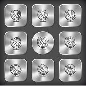 School globe set. Vector round and square steel buttons.