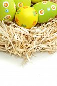 Colored Easter eggs into a nest from top on white background