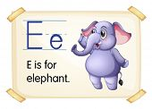 Elephant flashcard poster with letters