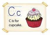 Literacy card showing the letter C with example object and sentence
