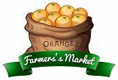 Farmer's market bag of oranges label
