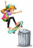 image of skate board  - Skate over a trash can - JPG