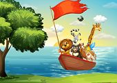 Animals in ark boat at shore