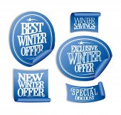Special winter offers stickers set.