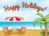 Happy holidays beach scene with text
