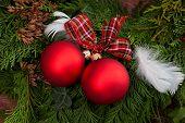 Christmas Baubles On A Christmas Tree