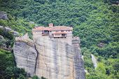 Monastery in mount Athos in Greece, high altitude view