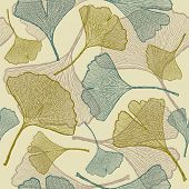 Seamless ginkgo background. Vector