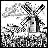 Landscape with windmill black and white. Vector
