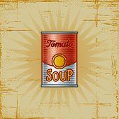 Retro Tomato Soup Can. Vector