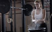 Girl Preparing To Weightlifting